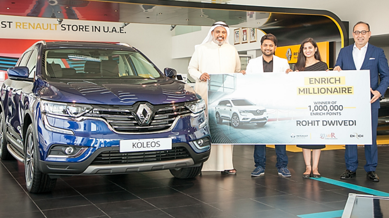 Rohit Dwivedi, the lucky winner of the Renault Enrich Millionaire competition.