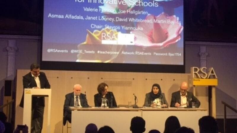 Stavros Yiannouka, CEO, WISE, recently chaired a panel on education leadership and change in  London; with (left to right) Dr David Whitebread, Ms Janet Looney, Dr Asmaa Al-Fadala, and Mr Martin Bayliss