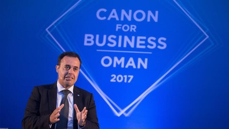 Mr Shadi Bakhour addressing the partners at 'Canon for Business Oman 2017'