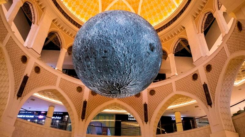 Seated beneath a stunning 'Museum of the Moon' visitors can learn the importance of the moon in Emirati culture.