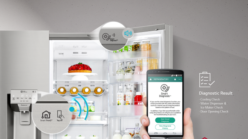 LG unveiled a suite of connected home electronics and appliances that can be controlled by LG's SmartThinQ app.