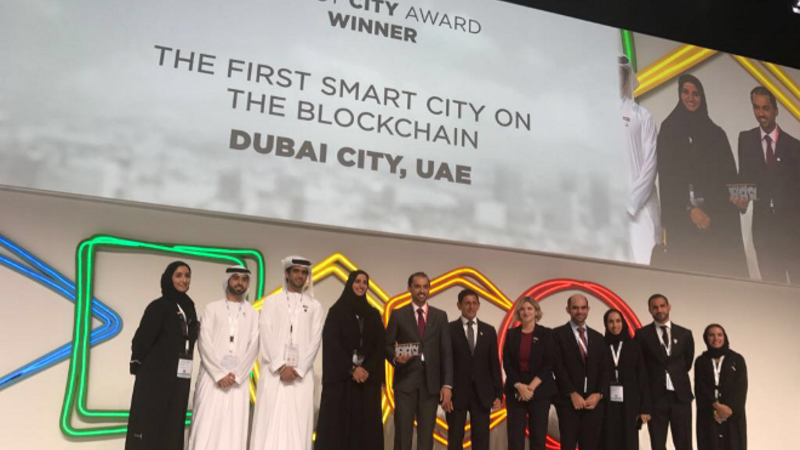 Smart Dubai took home the prestigious award for its Dubai Blockchain Strategy, a project which seeks to make Dubai the first in the world to conduct 100% of its transactions via an online encrypted database.