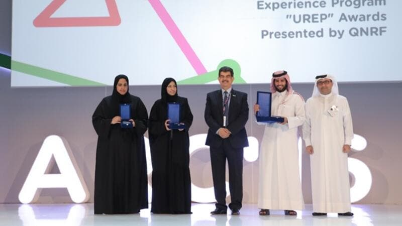 Team representatives for first, second, and third place of QNRF's UREP competition, along with Dr Abdul Sattar Al-Taie, Executive Director, QNRF,  and Dr Abdulnasser Al-Ansari, Deputy Executive Director, QNRF