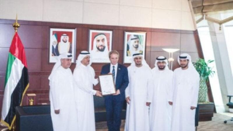 During the handing over of certificate to Robert Bosch Middle East at the office of UAE Economy Minister Sultan Bin Saeed Al Mansoori. (SG)