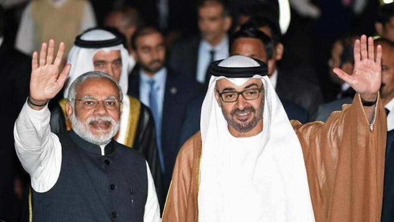 Sheikh Mohamed bin Zayed Al Nahyan, Crown Prince of Abu Dhabi with Narendra Modi, Prime Minister of India. (AFP)