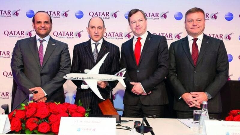 Qatar Airways Group Chief Executive Akbar Al Baker with other officials during the event.