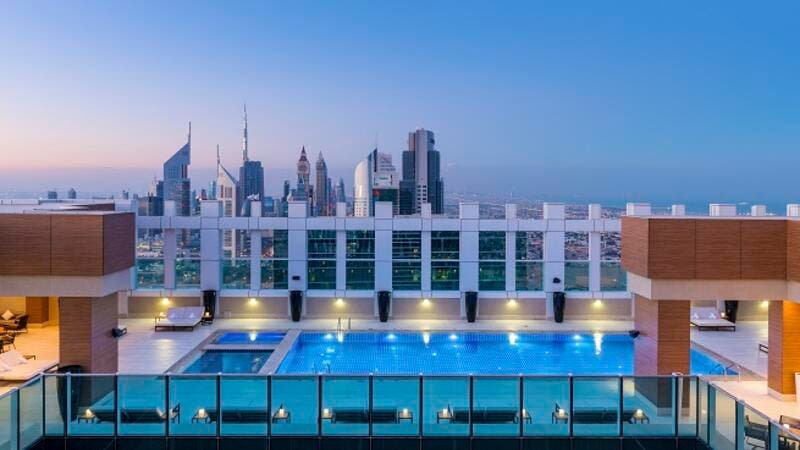 The session will be held beside the swimming pool on the hotel's 54th floor terrace.