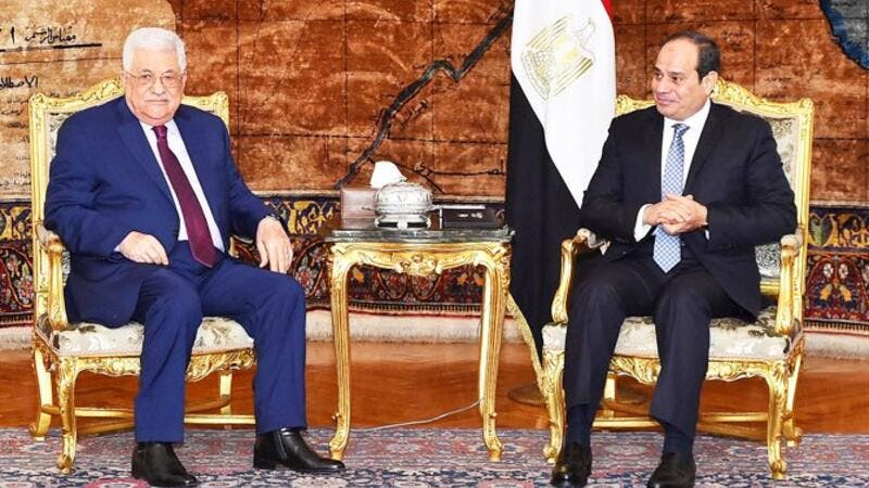 Palestinian President Mahmoud Abbas arrived in Cairo yesterday for an official visit to meet with President Abdel Fattah El-Sisi (Twitter)