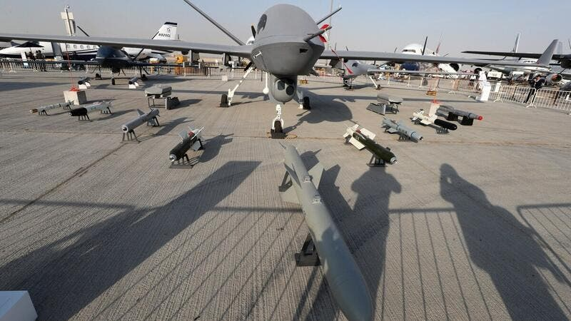 A Chinese-made Wing Loong II drone on display during the 2017 Dubai Airshow /AFP