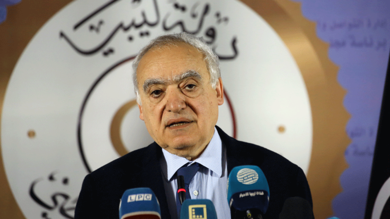 Ghassan Salame, UN special envoy for Libya and head of the UN Support Mission in Libya (UNSMIL) speaks during a press conference in the Libyan capital Tripoli.