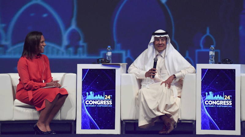Saudi Arabia's Energy Minister Prince Abdulaziz bin Salman speaks during the opening ceremony of the 24th World Energy Congress (WEC) in the UAE capital Abu Dhabi on September 9, 2019. In his first comments since being appointed by his father King Salman, the minister signalled no major change in approach in Saudi Arabia, the de facto leader of OPEC which pumps about a third of the cartel's oil.
