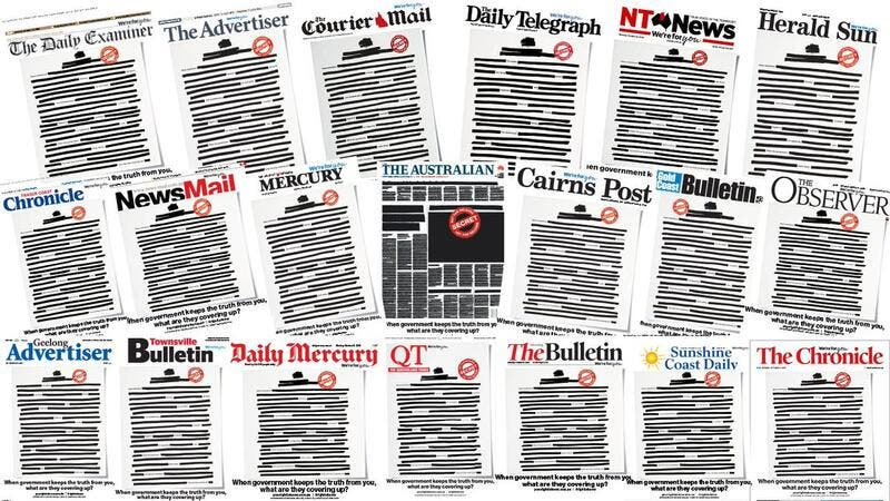Australian newspapers black out front pages to fight back against secrecy laws