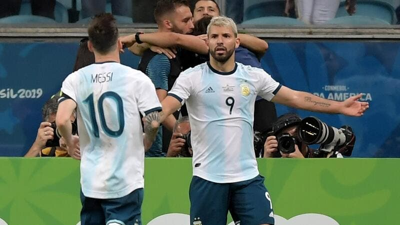 Lautaro Martinez and Sergio Aguero scored as Argentina's Copa America campaign got back on track with a 2-0 victory over Qatar.