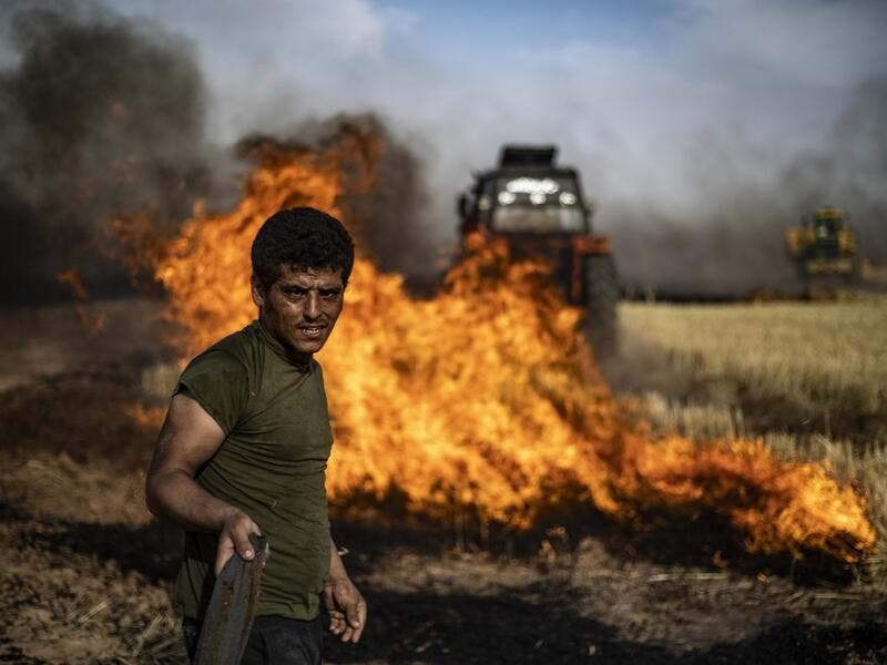 People battle a blaze next to an oil well in an agricultural field in the town of al-Qahtaniyah, in the Hasakeh province near the Syrian-Turkish border on June 10, 2019. Fires have erupted in various parts of Syria in recent weeks, with all sides blaming each other for starting them. Delil souleiman / AFP