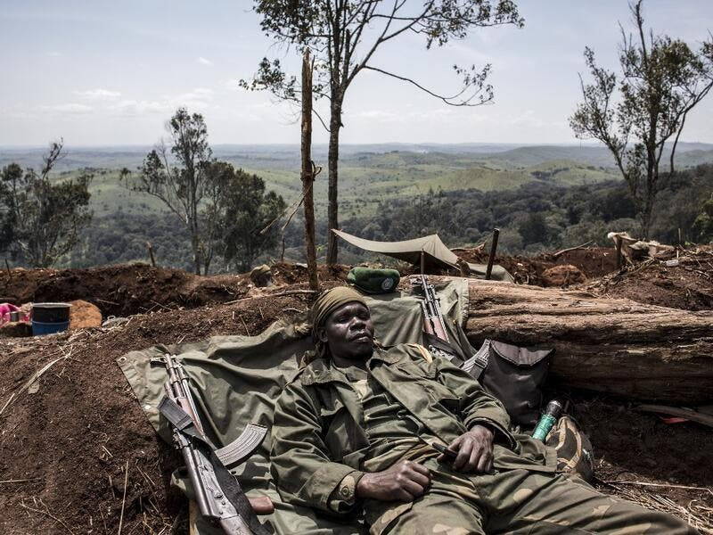For the last three weeks the FARDC have been fighting in an offensive operation against a militia in the Wago Forest in the Djugu district of Ituria Province. Attacks by this militia and inter-communal fighting between the Lendu and Hema communities have displaced over 300,000 people so far. John WESSELS / AFP