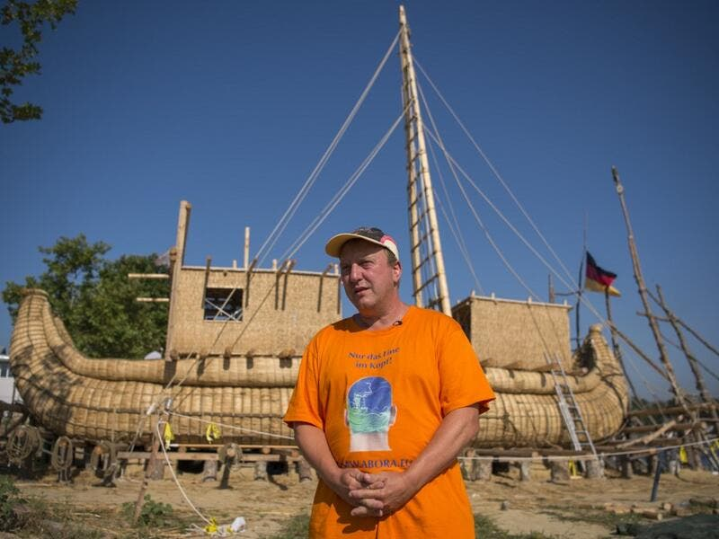 Abora IV expedition leader German archeologist Dominique Goerlitz speaks to AFP in front of the 14-meter long sailing reed boat in the town of Beloslav, Bulgaria, on July 25, 2019. NIKOLAY DOYCHINOV / AFP