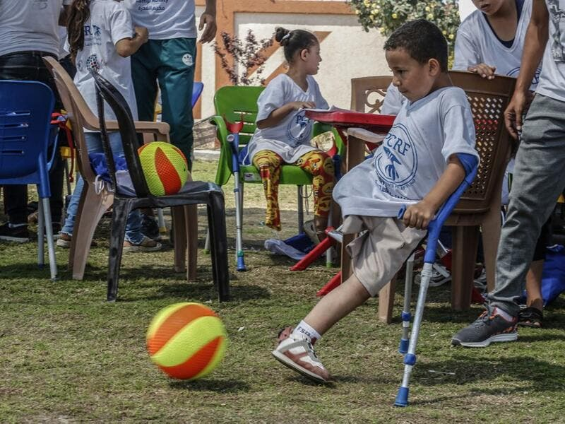 The PCRF is a non-governmental organisation providing physical and psychological services for disabled children in Gaza Strip. SAID KHATIB / AFP