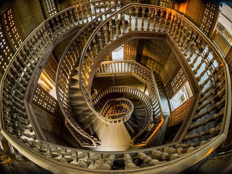 Staircase in Cairo's Indian-inspired Baron Empain Palace (Twitter)