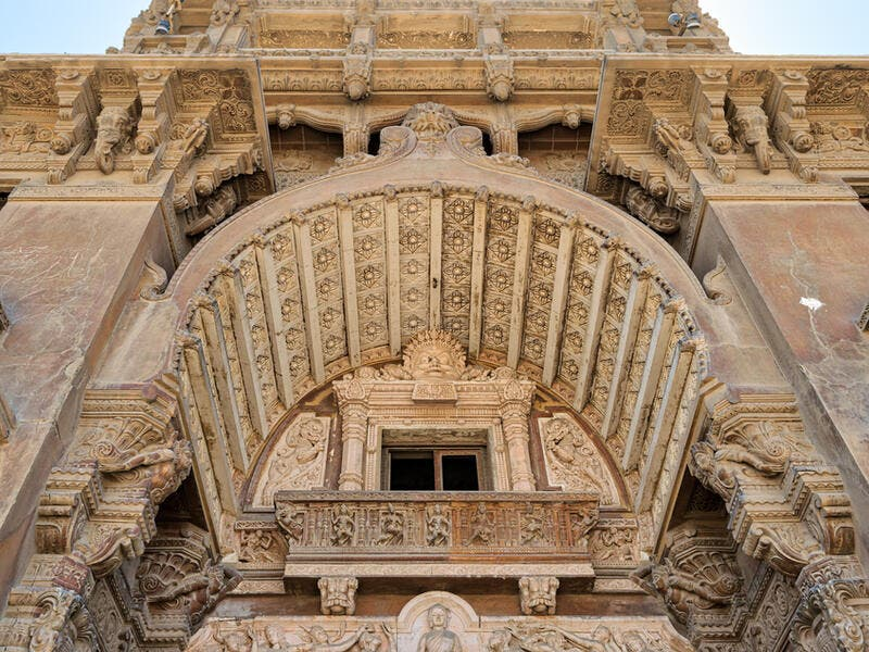 Low angled view of external facade of Baron Empain Palace, Heliopolis district, Cairo, Egypt  (Shutterstock)