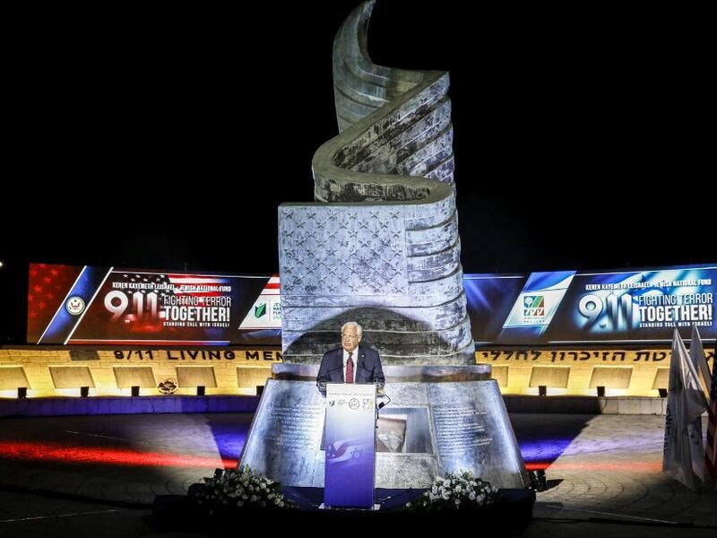US ambassador to Israel David Friedman gives a speech during a ceremony commemorating the eve of the 18th anniversary of the September 11, 2001 terror attacks in New York City, at the 9/11 Living Memorial Plaza on a hill overlooking Jerusalem AHMAD GHARABLI / AFP