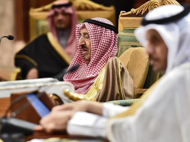 Sheikh Sabah Al-Ahmad Al-Jaber Al-Sabah (C), Emir of Kuwait, attends a session of the 40th Gulf Cooperation Council (GCC) summit held at the Saudi capital Riyadh on December 10, 2019. Fayez Nureldine / AFP