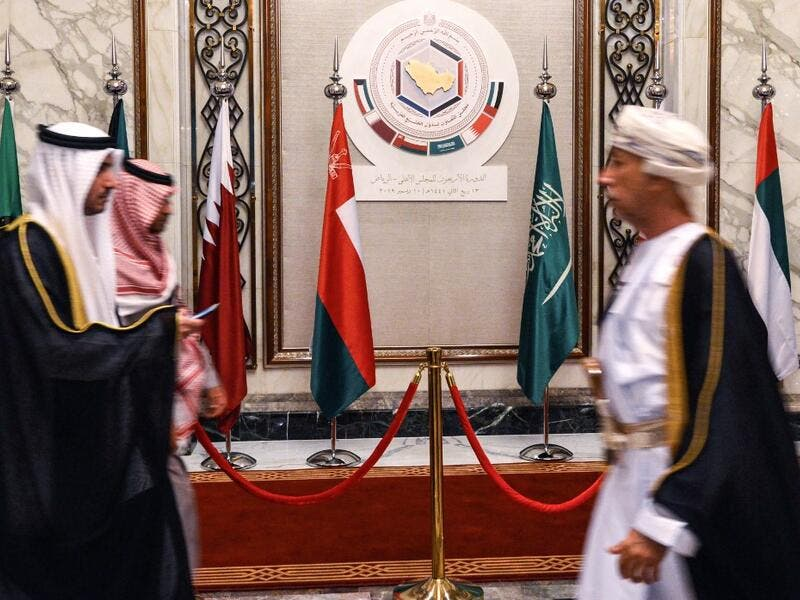 This picture taken on December 10, 2019 shows delegates walking during the Gulf Cooperation Council (GCC) summit held in the Saudi capital Riyadh. Fayez Nureldine / AFP