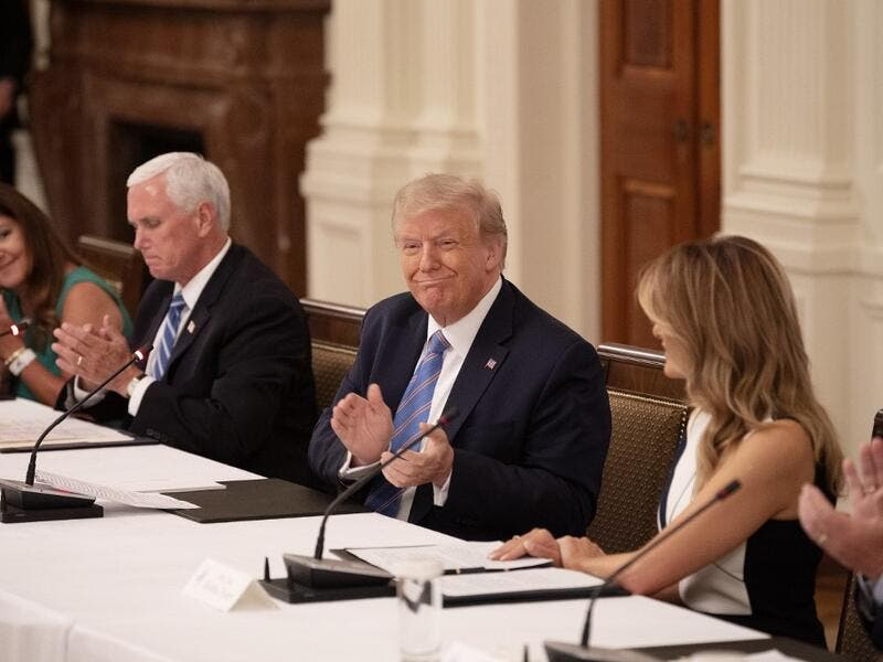 (L-R) Karen Pence, US Vice President Mike Pence, President Donald Trump and First Lady Melania Trump attend a roundtable discussion on the Safe Reopening of America's Schools during the coronavirus pandemic, in the East Room of the White House on July 7, 2020, in Washington, DC. JIM WATSON / AFP