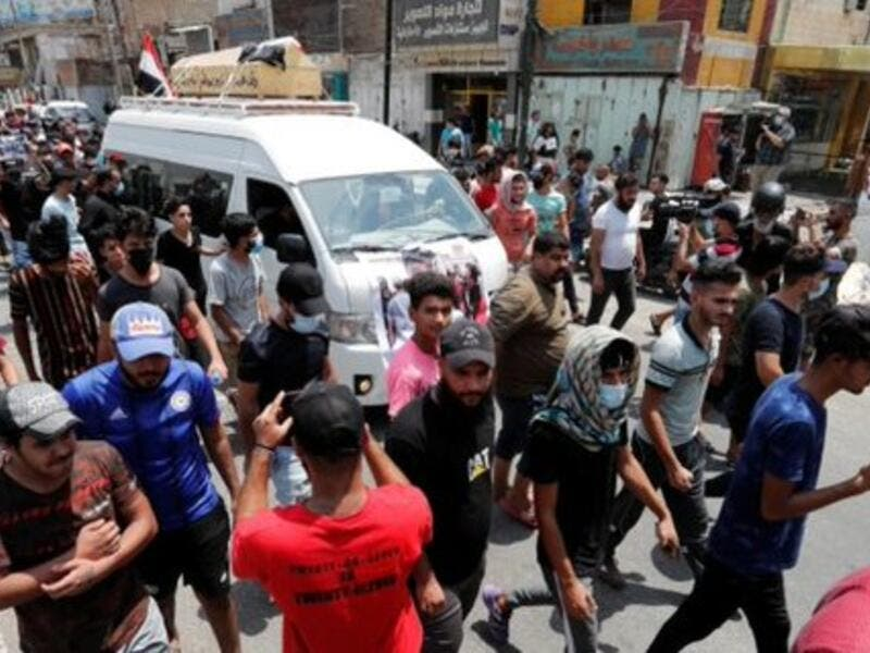 Two demonstrators died in Baghdad early Monday after being shot in confrontations with security forces (Twitter)
