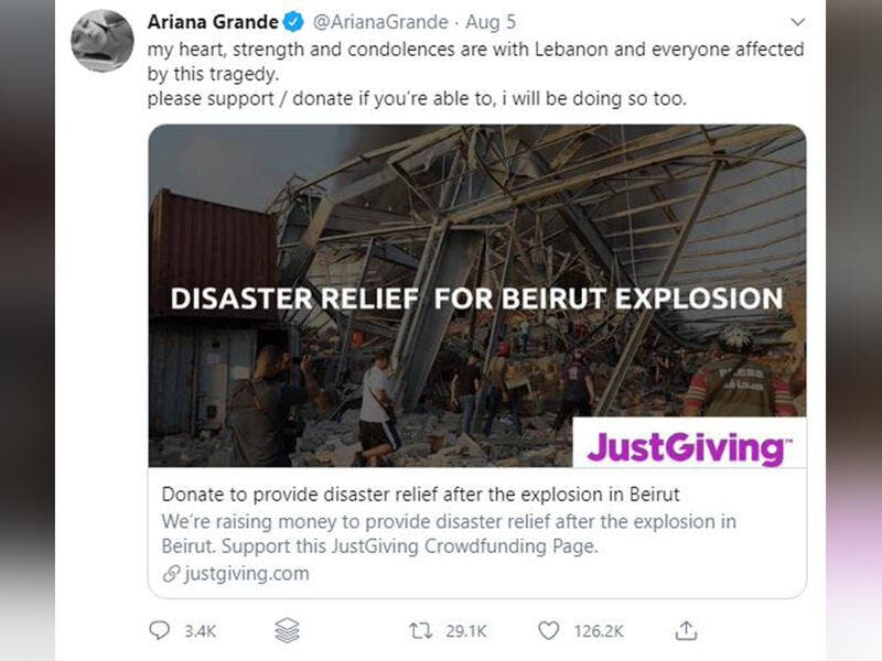 Ariana Grande: 'please support / donate if you're able to, i will be doing so too'