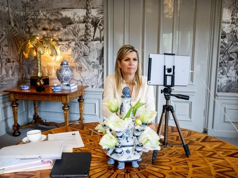 Queen Maxima of the Netherlands attends a meeting of the United Nations (UN) from Huis Ten Bosch in the Hague, on September 23, 2020. Patrick van Katwijk / ANP / AFP