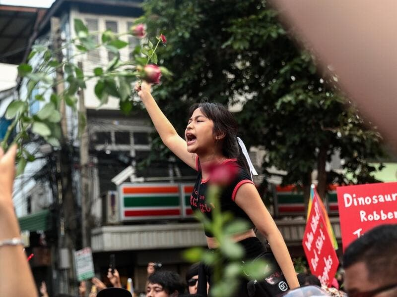 A pro-democracy protester holds up flowers while shouting slogans during an anti-government rally in Bangkok on October 14, 2020. Jack TAYLOR / AFP