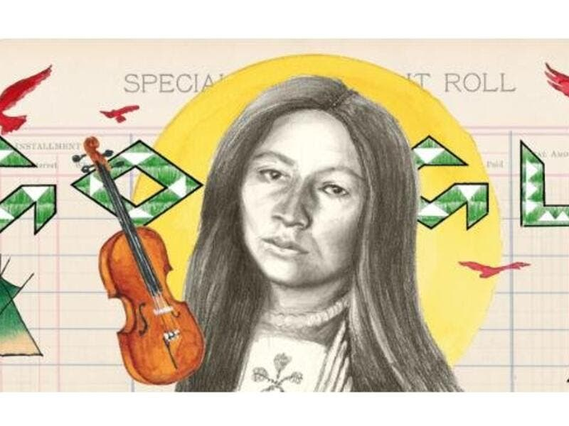 Google is paying homage to writer, musician, teacher, composer and suffragist Zitkala-Ša, a member of the Yankton Sioux Tribe of South Dakota, with a new Doodle. (Google)