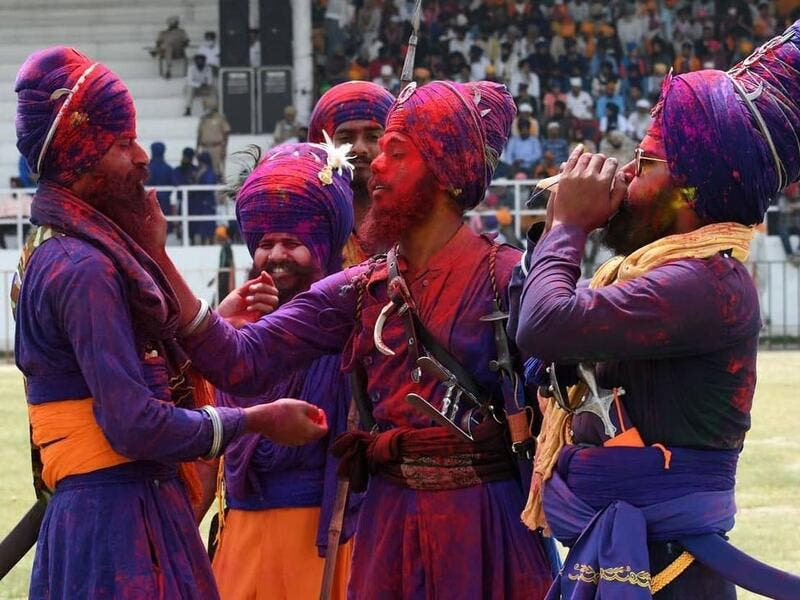 Nihang #Sikhs perform Gatka and ride horses during #HolaMohalla festival.