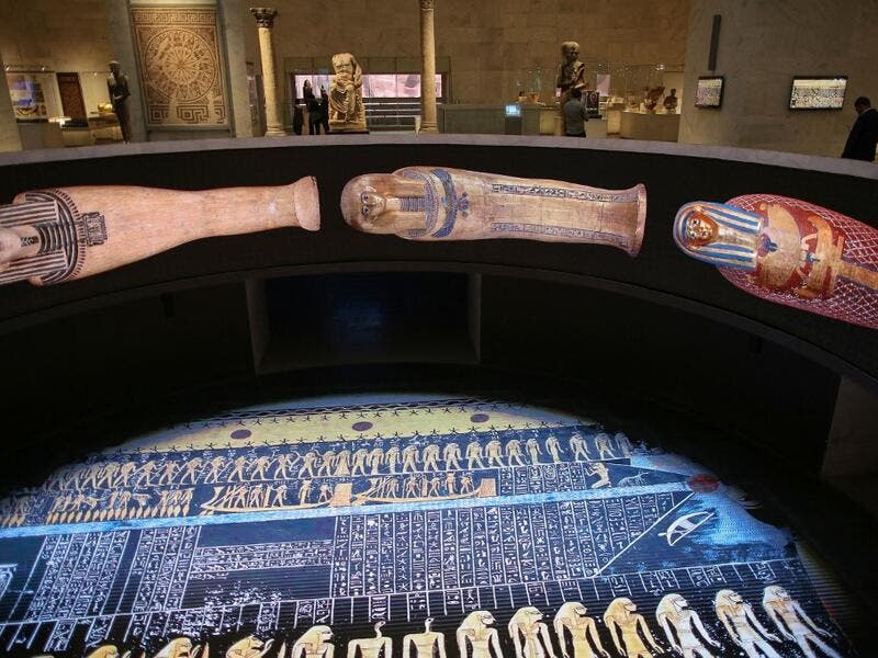 Visitors at Egypt's new National Museum of Egyptian Civilisation (NMEC)