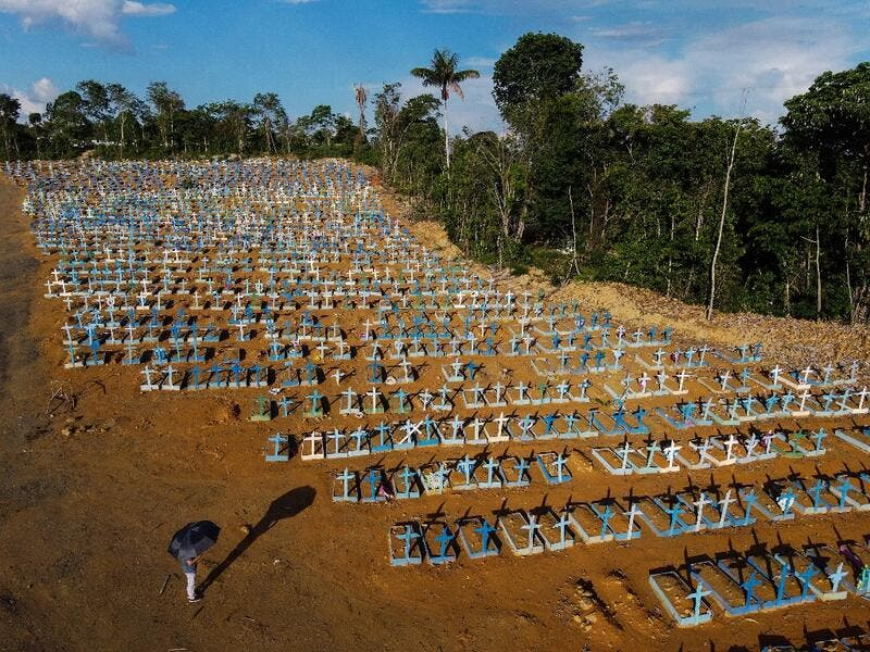 An aerial view of the burial site reserved for victims of the COVID pandemic at the Nossa Senhora Aparecida cemetery in Manaus.