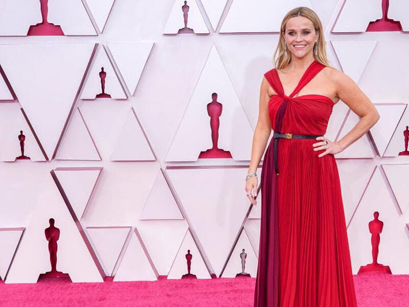 Reese Witherspoon championed a Red Halter-Neck Gown