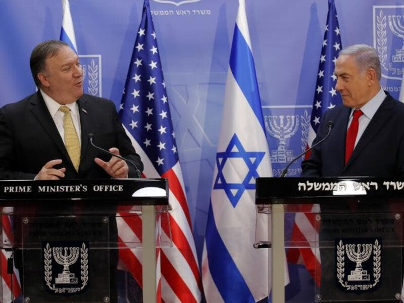 "US Secretary of State Mike Pompeo (L) and Israeli Prime Minister Benjamin Netanyahu deliver a joint statement during their meeting in Jerusalem on March 20, 2019. Pompeo and Netanyahu vowed today to counter Iranian ""aggression"" as the two met in Jerusalem just weeks ahead of Israel's elections.