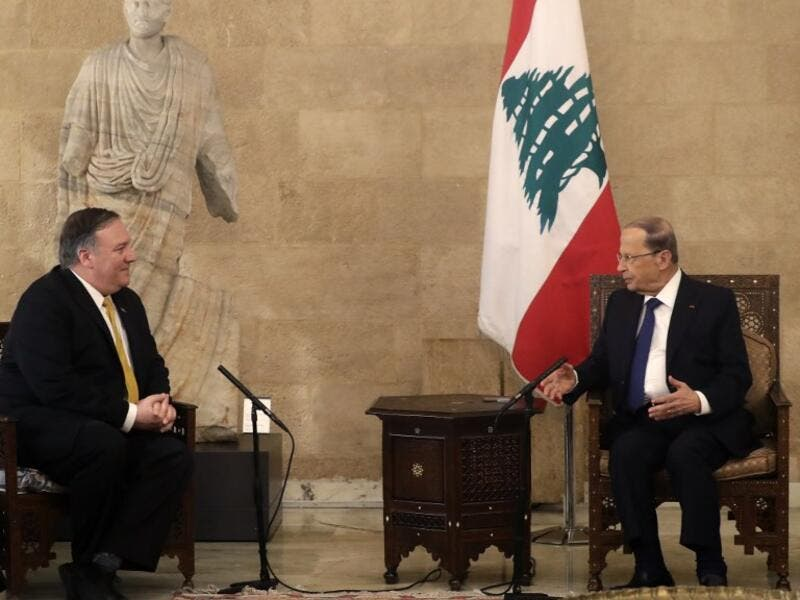 US Secretary of State Mike Pompeo (L) meets with Lebanon's President Michel Aoun (R) at the presidential palace in Baabda, east of the capital Beirut on March 22, 2019.