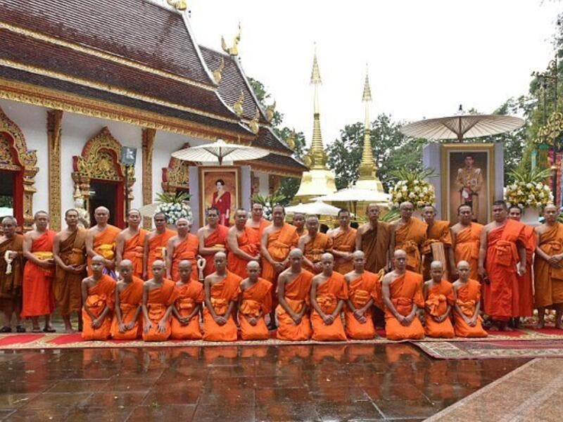 Buddhist males in Thailand are traditionally expected to enter the monkhood, often as novices, at some point in their lives to show gratitude, often toward their parents for raising them (AFP)
