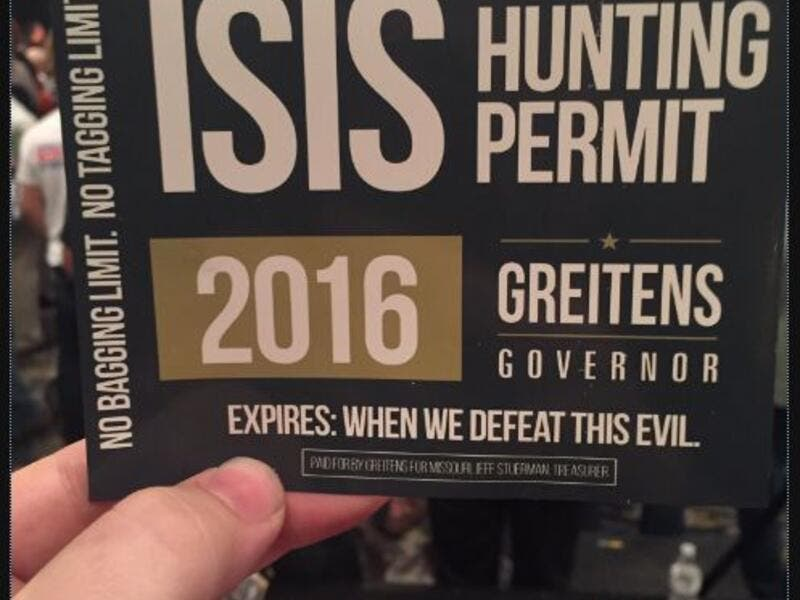 The tickets are going for $10 a pop, and are part of Republican Eric Greitens' campaign for governor of Missouri. (Twitter)