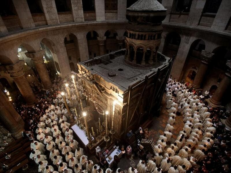 The Aedicule at the heart of the Church of the Holy Sepulchre. (AFP/File)