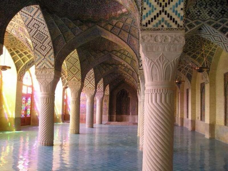 Carved pillars and mosaic vaulting of the Nasirul Mulk Mosque in Shiraz, Iran (Twitter)