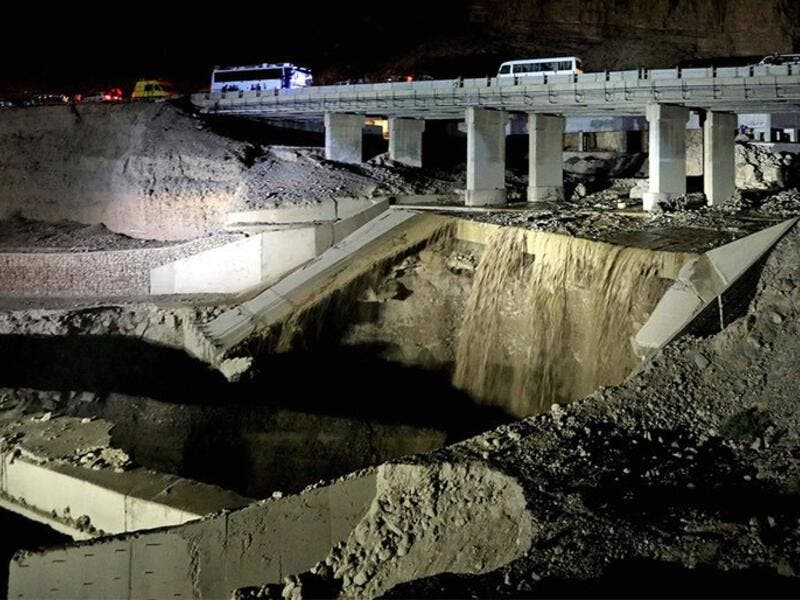 Civil Defence also said a bridge collapsed and a road was closed in the Dead Sea area (Twitter)