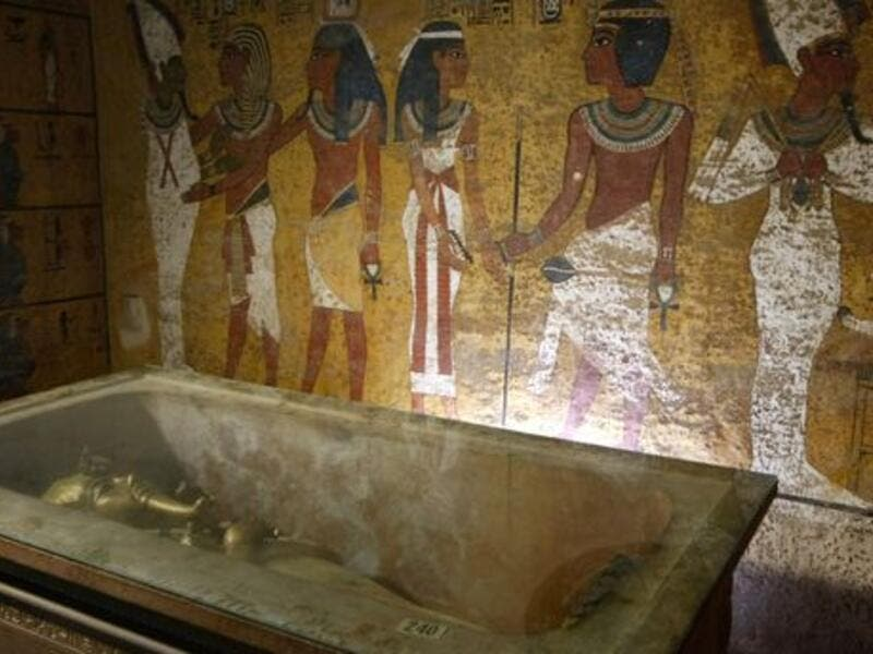 The sarcophagus of King Tutankhamun, known as the 'Child Pharaoh' in its burial chamber. (AFP/ File Photo)