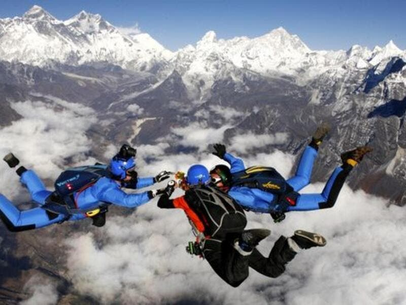 Skydive Above Mount Everest: For people who dream of throwing themselves out of perfectly good planes, this is the thrill for you. It involves a tandem skydive from 29,000 feet directly above Mount Everest. (pinterest.com)