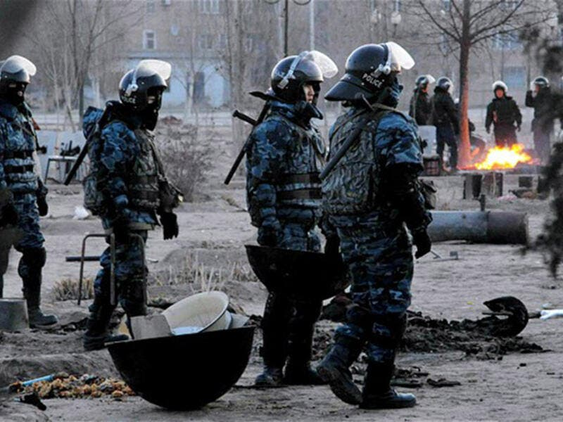 Kazakh police responding to a riot in 2011. (AFP/File)
