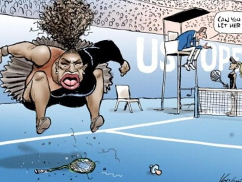 The Herald Sun has defended Mark Knight's cartoon of Serena Williams at the US Open, saying it has 'nothing to do with race (Twitter)