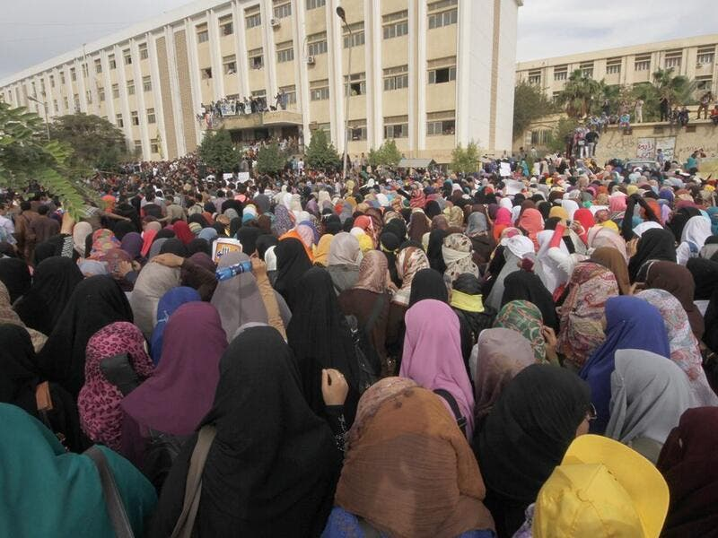 Female protesters at Al Azhar University in Assuit protesting the officials' cover up of their colleague's rape story. (Photo Credit: Horrya Press website)