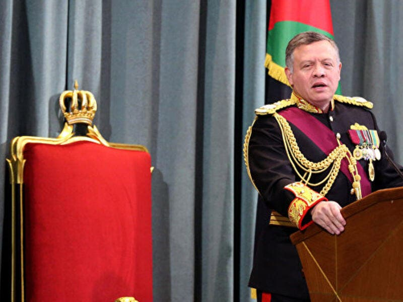 Jordanian King Abdullah II delivers a speech at the parliament. (AFP/File)