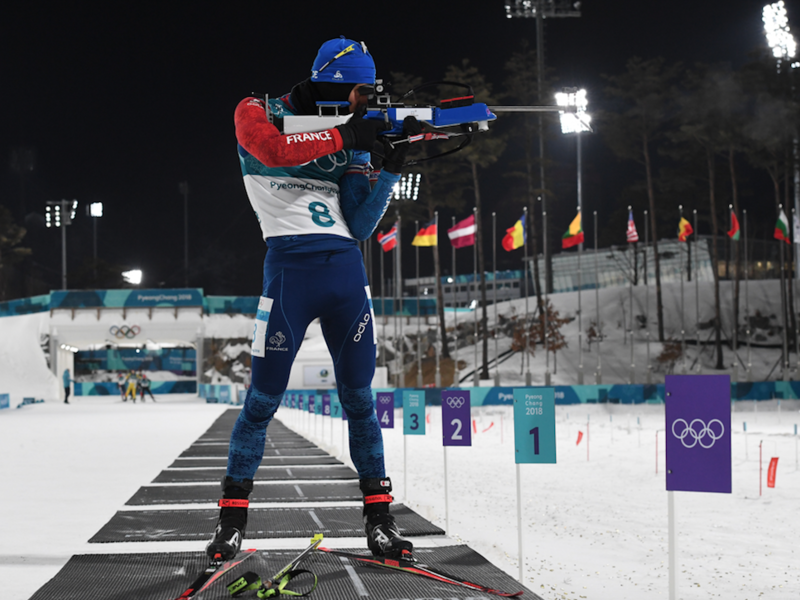 France's Gold Winner Martin Fourcade competes at the shooting range in the men's 12,5km pursuit biathlon event during the Pyeongchang 2018 Winter Olympic Games on February 12, 2018, in Pyeongchang. 